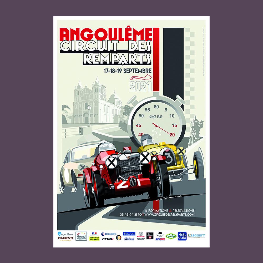 Affiche 40 x 60 cm du Circuit des Remparts 2021 signée Gayon